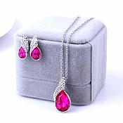 Necklace Earring Set Silver Crystal Rhinestone Fuchsia Tear Drop Jewelry Gift Set  (JW11-fs)