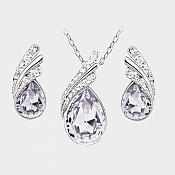 Necklace Earring Set Silver Crystal Rhinestone Light Lavender Tear Drop Jewelry Gift Set  (JW11)