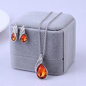 Necklace Earring Set Silver Crystal Rhinestone Fiery Orange Tear Drop Jewelry Gift Set  (JW11-or)