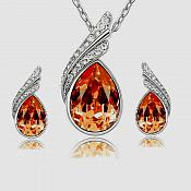 Necklace Earring Set Silver Crystal Rhinestone Fiery Orange Tear Drop Jewelry Gift Set  (JW11-or)