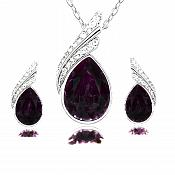Necklace Earring Set Silver Crystal Rhinestone Plum Purple Tear Drop Jewelry Gift Set  (JW11)