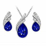 Necklace Earring Set Silver Crystal Rhinestone Royal Blue Tear Drop Jewelry Gift Set  (JW11-rl)