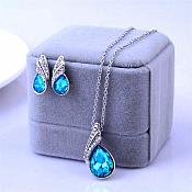 Necklace Earring Set Silver Crystal Rhinestone Turquoise Tear Drop Jewelry Gift Set  (JW11-tr)