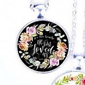 Scripture Necklace We Love Because He First Loved Us Pendant Inspirational Christian Jewelry w/ Silver Chain JW110