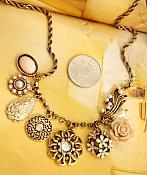 Rose Charm Necklace Antique Gold Chain Unique Vintage Style Fashion Costume Jewelry JW110
