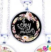 Scripture Necklace Joy Comes In The Morning Pendant Inspirational Christian Jewelry w/ Silver Chain JW115