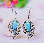 Leaf Earrings Silver Crystal Rhinestone Turquoise Dangle Jewelry  (JW12)
