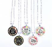 Scripture Necklace In All Things Give Thanks Pendant Inspirational Christian Jewelry w/ Silver Chain JW123