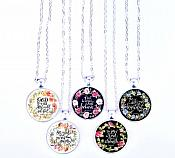 Scripture Necklace God Is In Her She Will Not Fail Pendant Inspirational Christian Jewelry w/ Silver Chain JW126