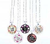 Scripture Necklace Be Still And Know Pendant Inspirational Christian Jewelry w/ Silver Chain JW133
