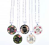 Scripture Necklace He Calls Me Beautiful One Pendant Inspirational Christian Jewelry w/ Silver Chain JW135