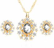Jewelry Set Necklace Earring Clear Crystal Rhinestone Goldtone (JW14)