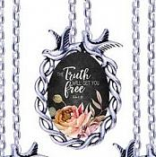 Scripture Necklace Truth Will Set You Free Dove Pendant Inspirational Christian Jewelry w/ Silver Chain JW141