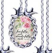 Scripture Necklace Fearfully And Wonderfully Made Dove Pendant Inspirational Christian Jewelry w/ Silver Chain JW148