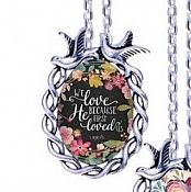Scripture Necklace We Love Because He First Loved Us Dove Pendant Inspirational Christian Jewelry w/ Silver Chain JW151