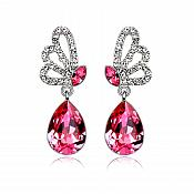 Earrings Silver Crystal Rhinestone Fuchsia Pink Tear Drop Dangle Jewelry  (JW16)