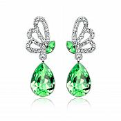Earrings Silver Crystal Rhinestone Lime Green Tear Drop Dangle Jewelry  (JW16)
