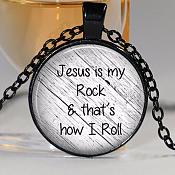 Jesus is my Rock and That's How I Roll Necklace Pendant Inspirational Christian Jewelry w/ Black Chain JW165