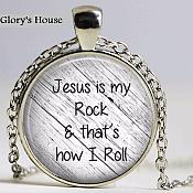 Jesus is my Rock and That's How I Roll Necklace Pendant Inspirational Christian Jewelry w/ Silver Chain JW165