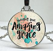 Unending Love Amazing Grace Necklace Pendant Cross Charm Inspirational Christian Jewelry w/ Silver Chain JW169