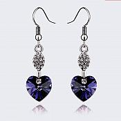 Earrings Silver Crystal Rhinestone Plum Purple Heart Dangle Jewelry  (JW17)