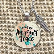Unending Love Amazing Grace Necklace Pendant Feather Charm Inspirational Christian Jewelry w/ Silver Chain JW170