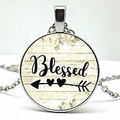 Blessed Necklace Pendant Arrow Charm Inspirational Christian Jewelry w/ Silver Chain JW173