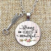 Strong Fearless Beautiful Necklace Pendant Arrow Charm Inspirational Christian Jewelry w/ Silver Chain JW174