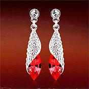 Earrings Silver Crystal Rhinestone Red Dangle Jewelry  (JW18)