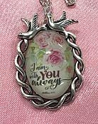 Scripture Necklace I Am With You Always Dove Pendant Inspirational Christian Jewelry w/ Silver Chain JW180