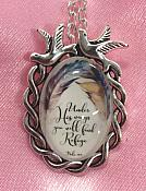 Scripture Necklace Under His Wings You Will Find Refuge Dove Pendant Inspirational Christian Jewelry w/ Silver Chain JW184