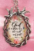 Scripture Necklace God Is Within Her She Will Not Fail Pendant Inspirational Christian Jewelry w/ Silver Chain JW186