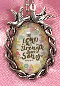 Scripture Necklace The Lord Is My Strength And My Song Dove Pendant Inspirational Christian Jewelry w/ Silver Chain JW188