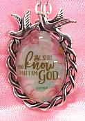Scripture Necklace Be Still And Know That I AM God Dove Pendant Inspirational Christian Jewelry w/ Silver Chain JW194