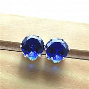 Rhinestone Earrings Blue Diamond Silver Setting Round Stud Jewelry (JW20)