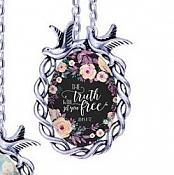 Scripture Necklace The Truth Will Set You Free Dove Pendant Inspirational Christian Jewelry w/ Silver Chain JW201