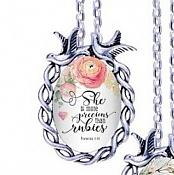 Scripture Necklace She Is More Precious Than Rubies Dove Pendant Inspirational Christian Jewelry w/ Silver Chain JW205