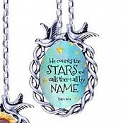 Scripture Necklace He Counts The Stars And Calls Them All By Name Dove Pendant Inspirational Christian Jewelry w/ Silver Chain JW206