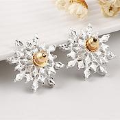 Snowflake Crystal Rhinestone Earrings in Silver Setting Jewelry (JW21)