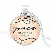 "Scripture Pendant Necklace ""Grace Greater Than My Past"" Inspirational Christian Jewelry w/ Silver Chain JW219"