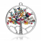 The Tree of Life Pendant Multi Color Natural Stones Silver Metal JW223