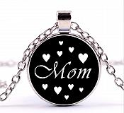 Mom Necklace Pendant Black w/ White Hearts Costume Fashion Jewelry w/ Silver Chain JW225