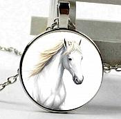 White Horse Necklace Pendant Costume Fashion Jewelry w/ Silver Chain JW230