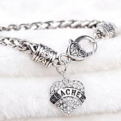 Inspirational Teacher Rhinestone Heart Bracelet Silver Christian Fashion Costume Jewelry JW232