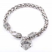 Inspirational Believe Rhinestone Heart Bracelet Silver Christian Fashion Costume Jewelry JW233