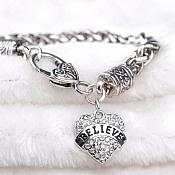 Inspirational Believe Rhinestone Heart Bracelet Silver Christian Fashion Costume Jewelry JW233