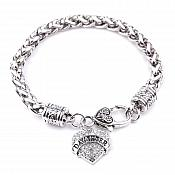 Inspirational Daughter Rhinestone Heart Bracelet Silver Christian Fashion Costume Jewelry JW235