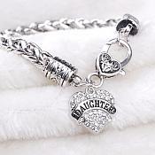 Inspirational Daughter Rhinestone Heart Bracelet Silver Christian Fashion Costume Jewelry JW235