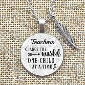 Necklace Teachers Change the World One Child At A Time Pendant Inspirational Jewelry w/ Silver Chain Feather Charm  JW237