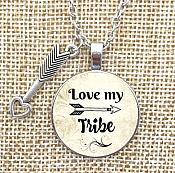 I Love My Tribe Necklace Pendant Inspirational Jewelry w/ Silver Chain JW239